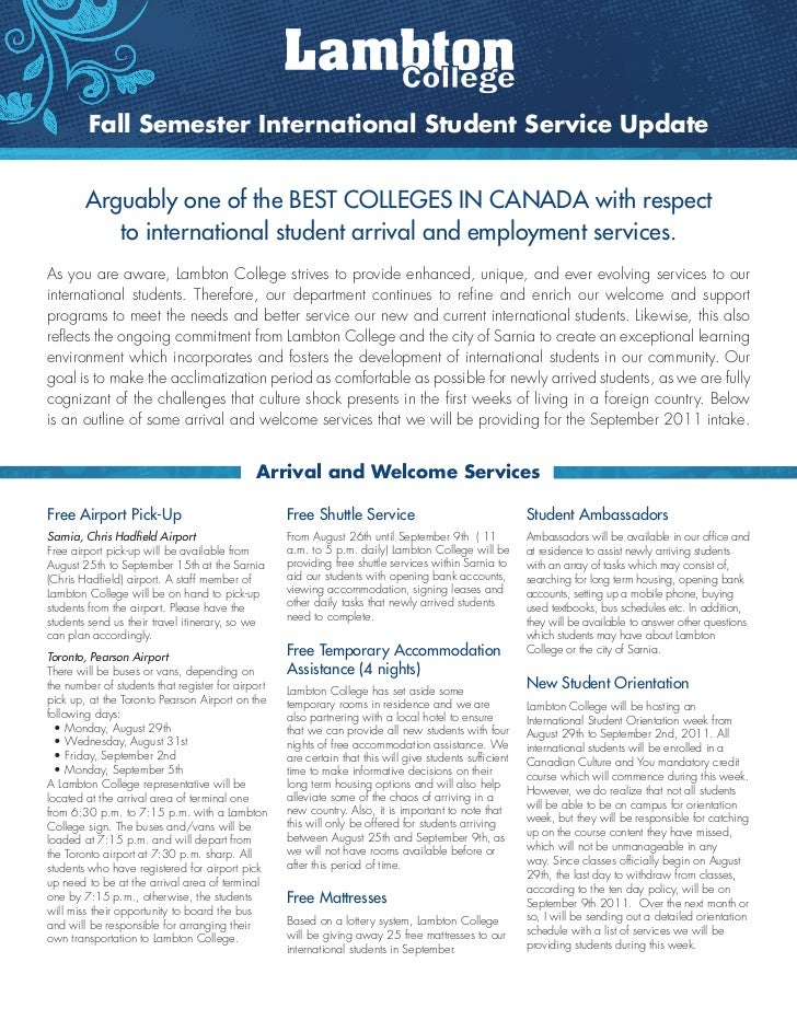 Fall Semester International Student Service Update        Arguably one of the beST cOllegeS iN cANAdA with respect        ...
