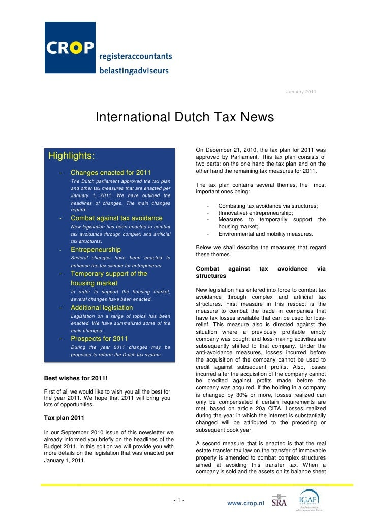 January 2011                           International Dutch Tax News                                                       ...