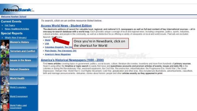 Once you're in NewsBank, click on the shortcut for World