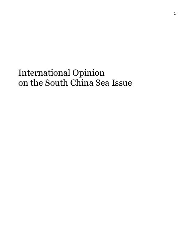 1 International Opinion on the South China Sea Issue
