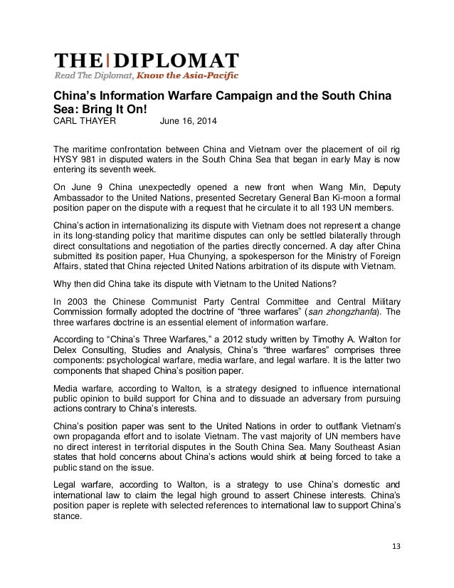 International opinion on the South China Sea Issue part III