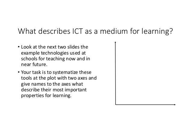WhatdescribesICTasamediumforlearning? • Lookatthenexttwoslidesthe exampletechnologiesusedat schoolsfor...