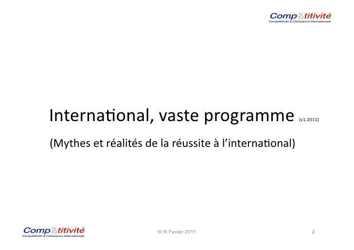 Interna(onal, vaste programme                                     (v1.2011)                                        ...