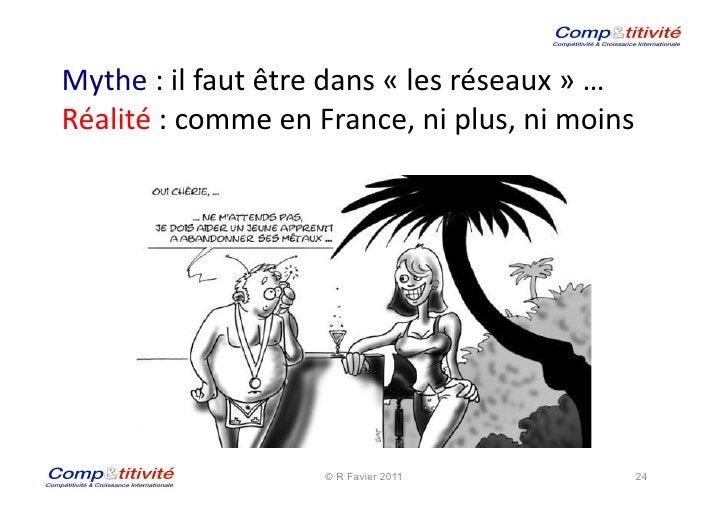 Mythe : il faut être dans « les réseaux » …  Réalité : comme en France, ni plus, ni...