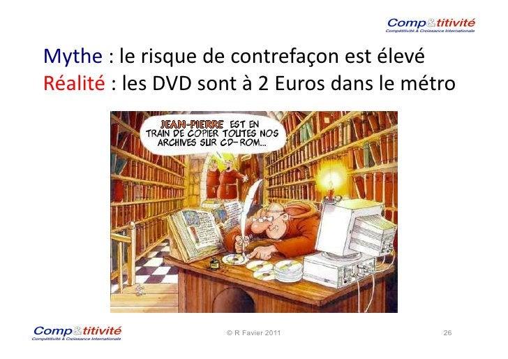 Mythe : le risque de contrefaçon est élevé  Réalité : les DVD sont à 2 Euros dans le ...