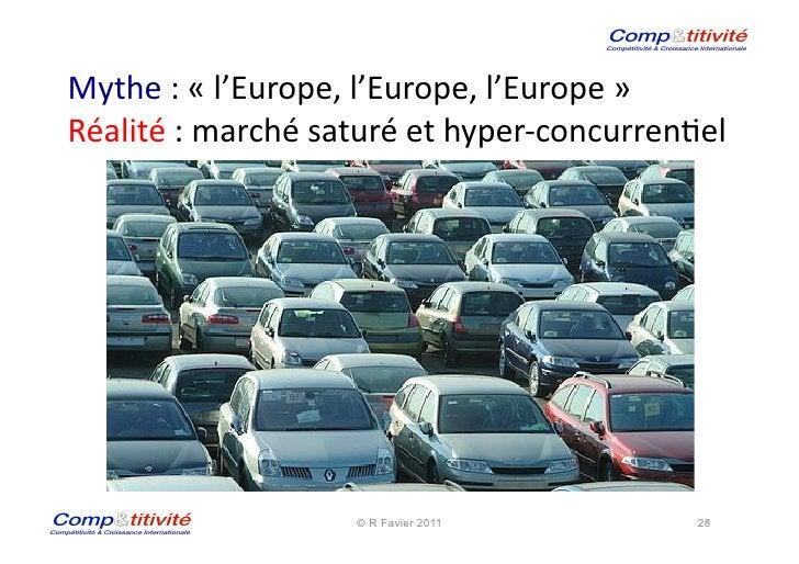 Mythe : « l'Europe, l'Europe, l'Europe »  Réalité : marché saturé et hyper-‐concurren(el     ...