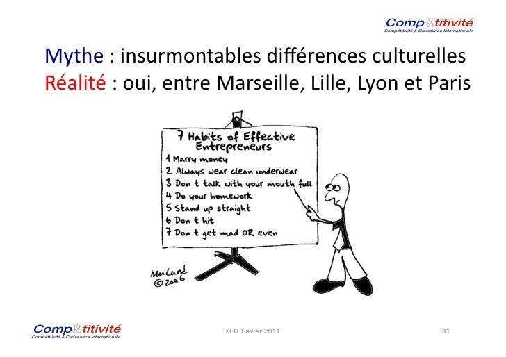 Mythe : insurmontables différences culturelles Réalité : oui, entre Marseille, Lille, Lyon et Par...