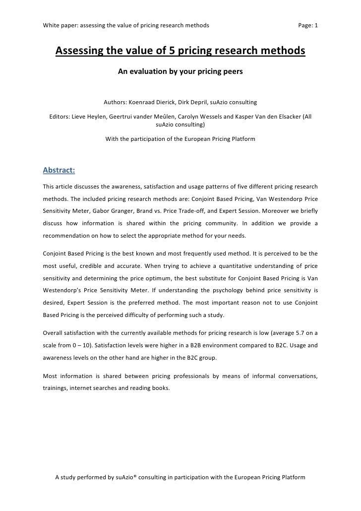 international pricing research methodology study