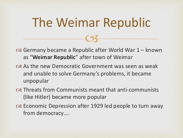 weimar republic overcome problems by 1929 In its fourteen years, the weimar republic faced numerous problems, including hyperinflation the first recorded mention of the term republik von weimar (republic of weimar) in 1929, three years after.