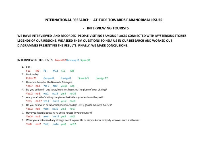 INTERNATIONAL RESEARCH – ATITUDE TOWARDS PARANORMAL ISSUES                                                      - INTERVIE...