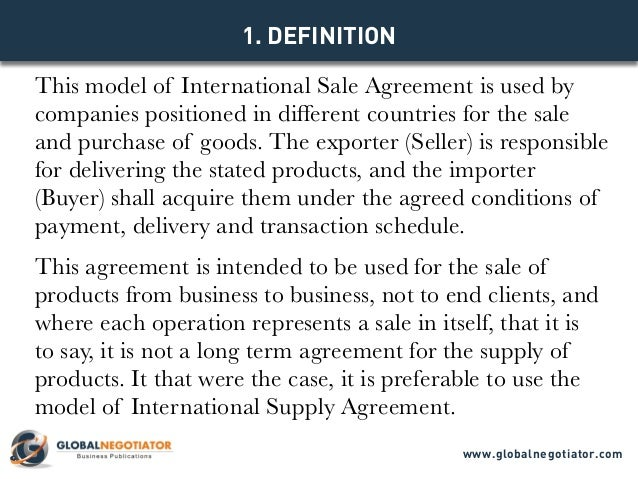 International Sale Agreement Template
