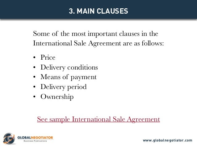 INTERNATIONAL SALE AGREEMENT TEMPLATE - Sales agreement template