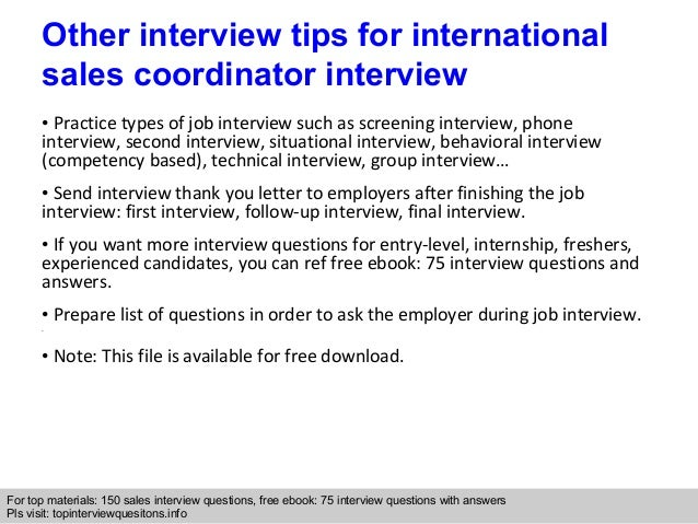 International sales coordinator interview questions and answers interview questions expocarfo Gallery