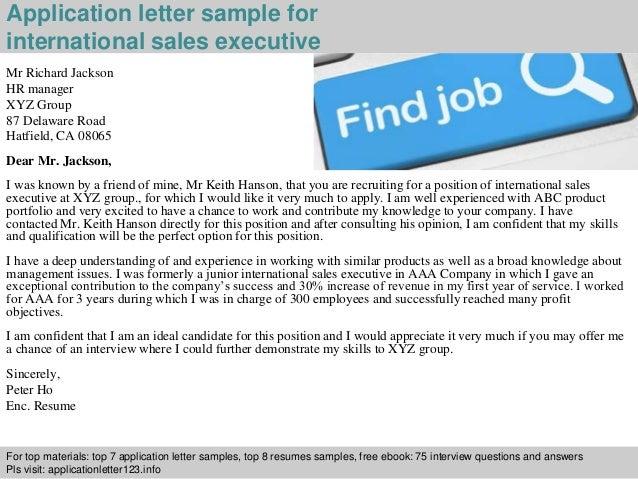 International sales executive application letter