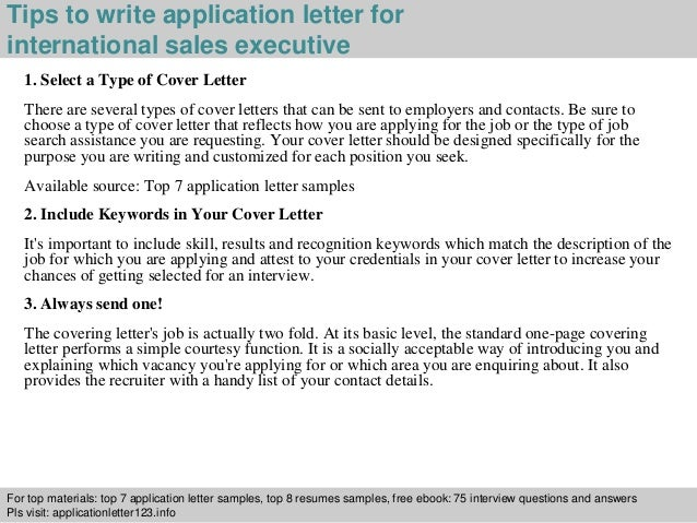 International sales executive application letter