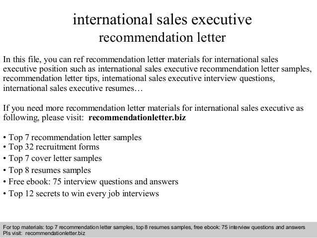 International sales executive recommendation letter