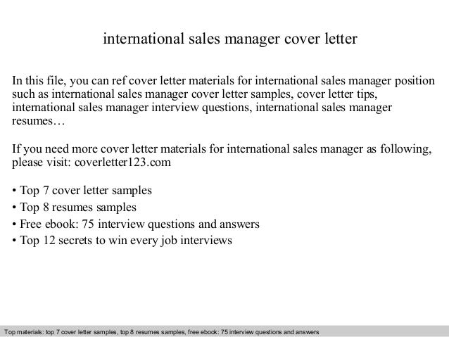 International Sales Manager Cover Letter