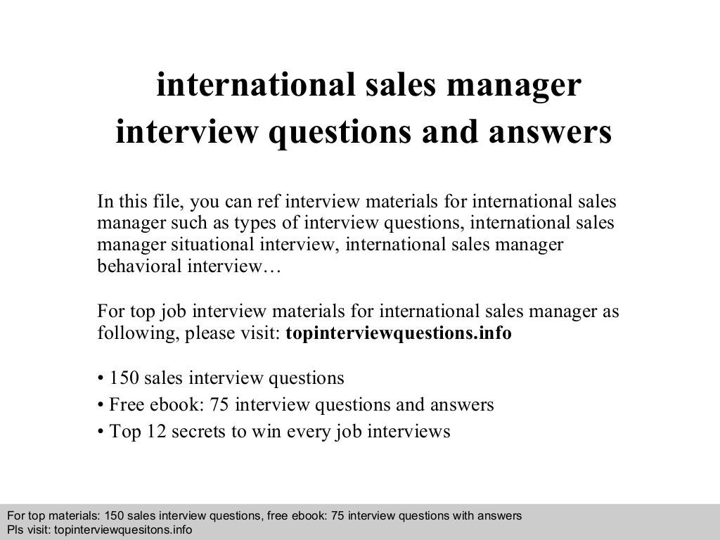 international s manager interview questions and answers