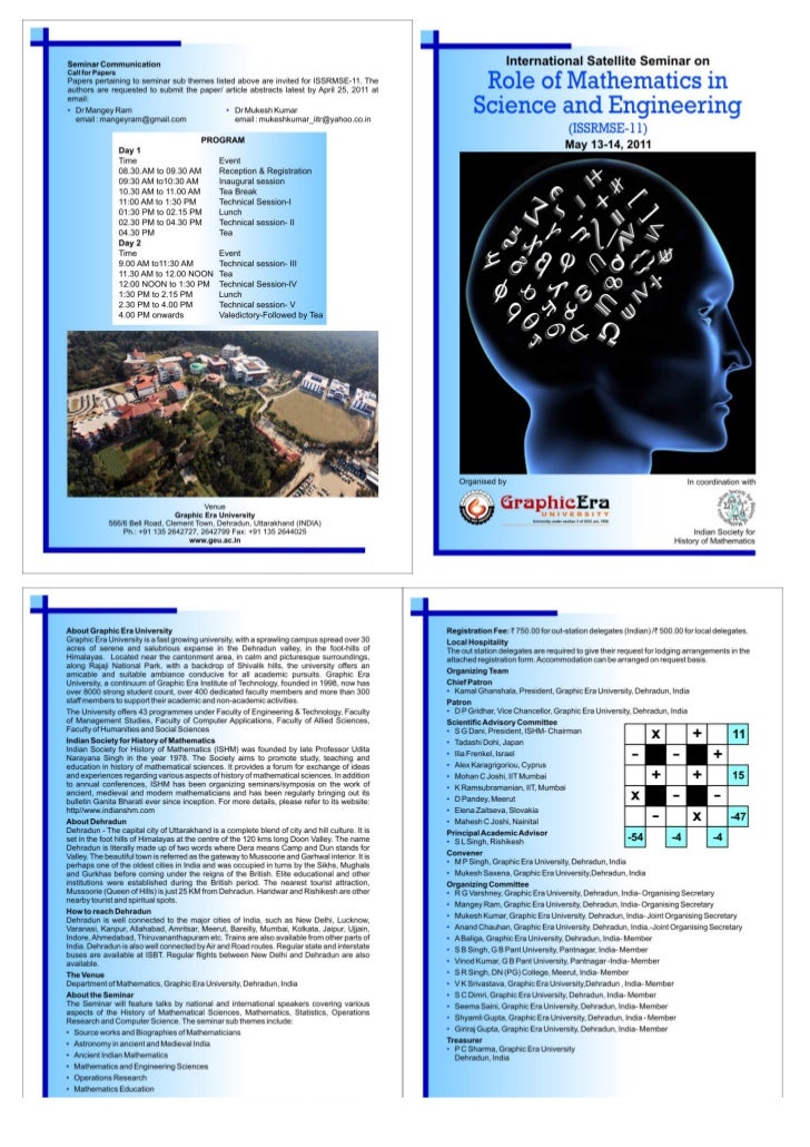 International Satellite Seminar on<br />Role of Mathematics in Science and Engineering<br />(ISSRMSE-11)<br />(May 13-14, ...