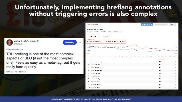 #GLOBALECOMMERCESEO BY @ALEYDA FROM #ORAINTI AT #SEJSUMMIT Unfortunately, implementing hreflang annotations without trigge...