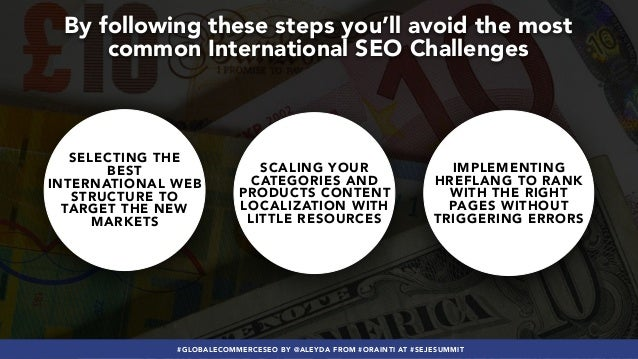 #GLOBALECOMMERCESEO BY @ALEYDA FROM #ORAINTI AT #SEJESUMMIT By following these steps you'll avoid the most common Internat...