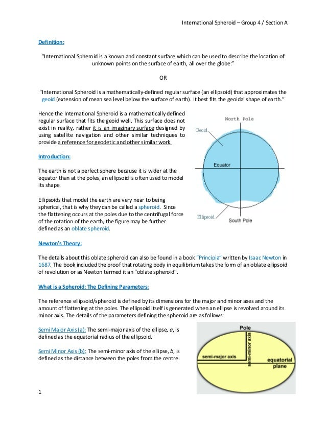 """International Spheroid – Group 4 / Section A 1 Definition: """"International Spheroid is a known and constant surface which c..."""