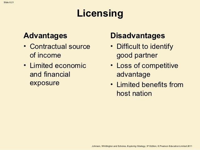 Advantages of licensing