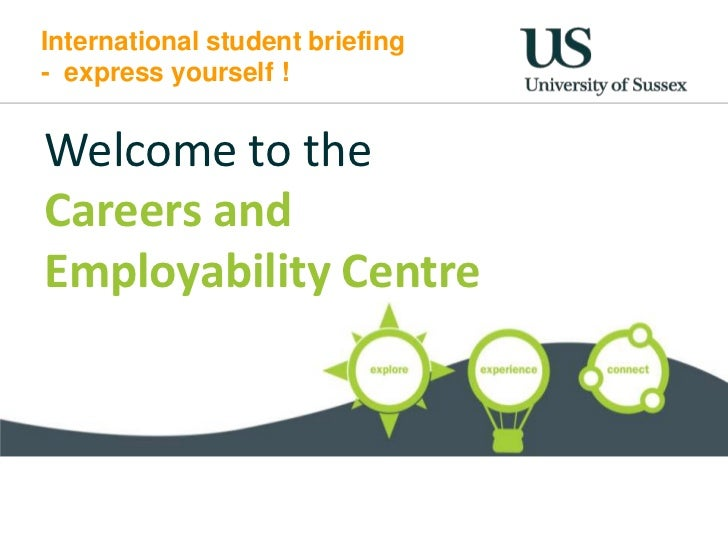 International student briefing- express yourself !Welcome to theCareers andEmployability Centre