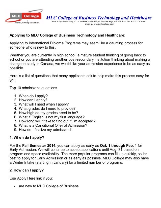 MLC College of Business Technology and Healthcare Suite 101(Lower Floor), 3173, Erindale Station Road, Mississauga, ON L5C...