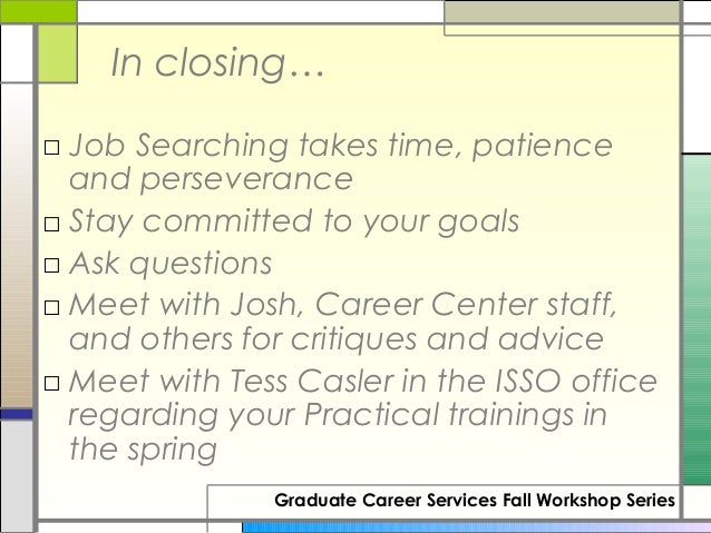 Lovely Review Of Information Booklet Graduate Career Services Fall Workshop  Series; 32.
