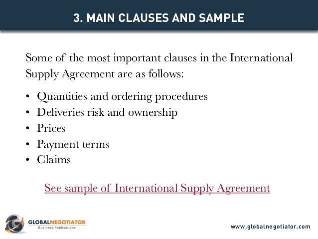 INTERNATIONAL SUPPLY AGREEMENT TEMPLATE – Sample Supply Agreement