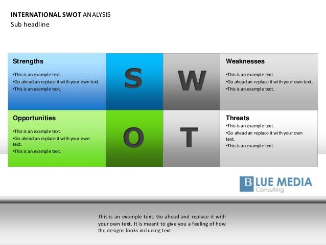 S W T Strengths •This is an example text. •Go ahead an replace it with your own text. •This is an example text. Opportunit...