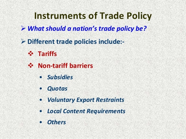 international trade policy Trade policy and market access the office of international transportation and trade manages all transportation-related international trade policy issues within the interagency trade policy mechanism that has been established to develop and coordinate the implementation of trade policy (ie, policy on trade and trade-related investment) across .