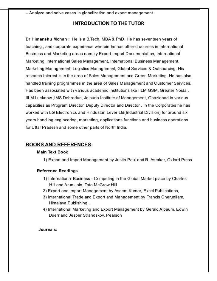 International trade procedures and documentation