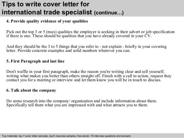 International trade specialist cover letter
