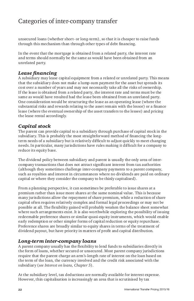 International Transfer Pricing 2015/1622 Categories of inter-company transfer unsecured loans (whether short- or long-term...