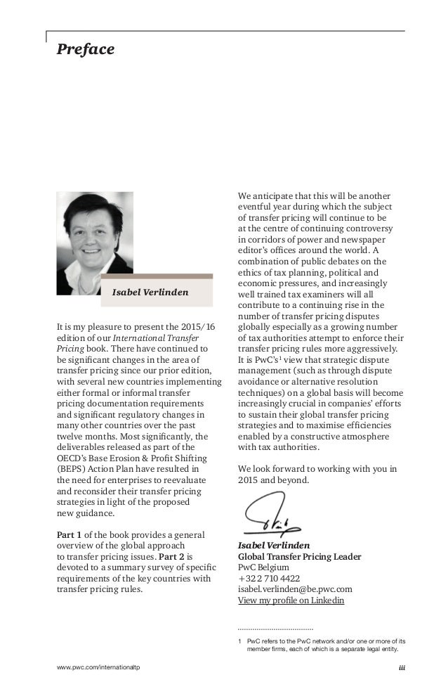 iiiwww.pwc.com/internationaltp Preface It is my pleasure to present the 2015/16 edition of our International Transfer Pric...