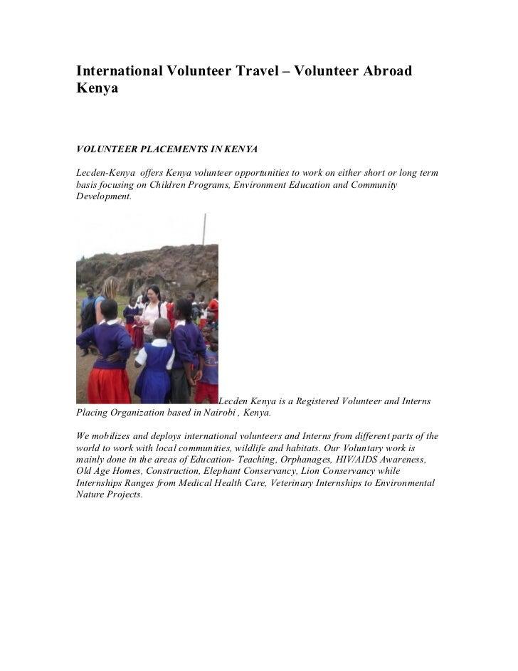 International Volunteer Travel – Volunteer AbroadKenyaVOLUNTEER PLACEMENTS IN KENYALecden-Kenya offers Kenya volunteer opp...