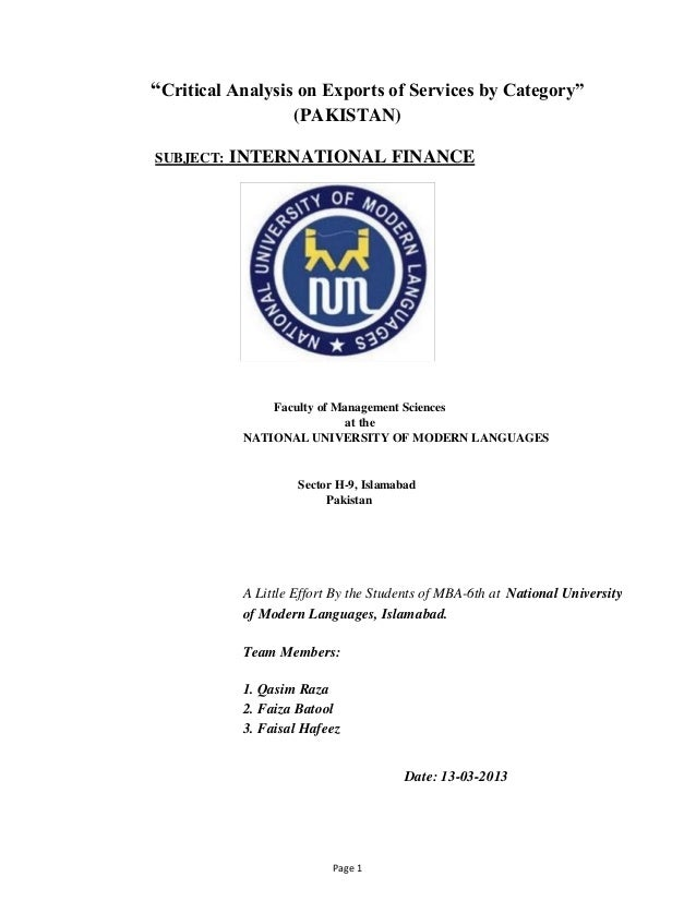 """Critical Analysis on Exports of Services by Category"" (PAKISTAN) SUBJECT:  INTERNATIONAL FINANCE  Faculty of Management S..."