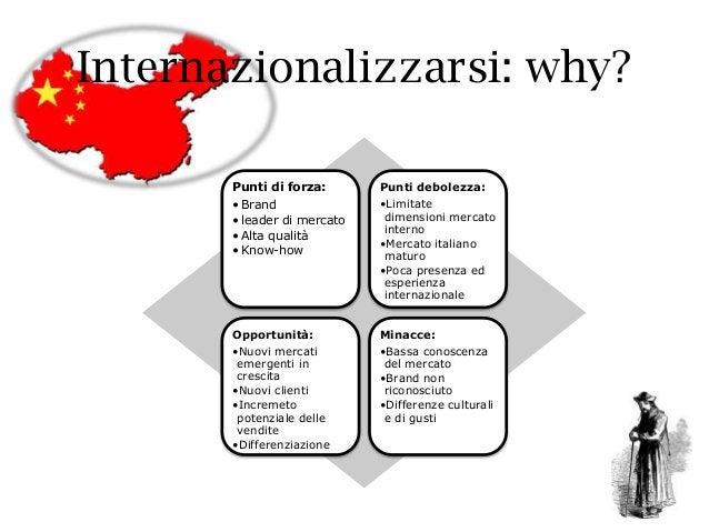 Internazionalizzarsi: why? Punti di forza: • Brand • leader di mercato • Alta qualità • Know-how Punti debolezza: •Limitat...