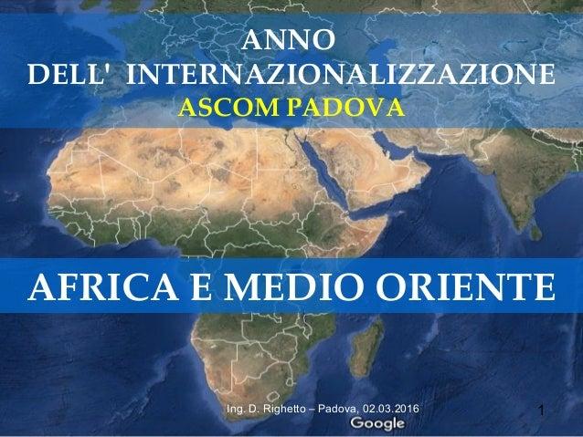 1Ing. D. Righetto – Padova, 02.03.2016 ANNO DELL' INTERNAZIONALIZZAZIONE ASCOM PADOVA AFRICA E MEDIO ORIENTE