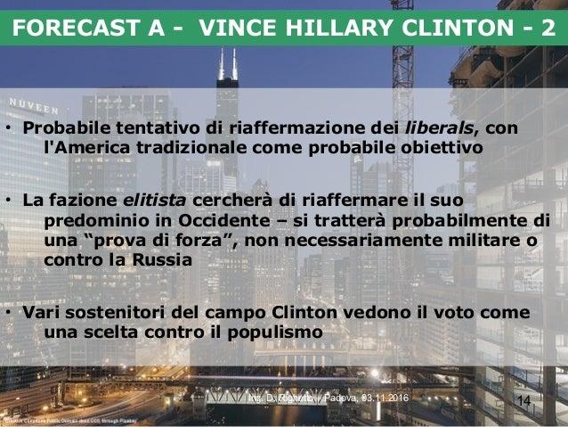 14Ing. D. Righetto – Padova, 03.11.2016 FORECAST A - VINCE HILLARY CLINTON - 2 ● Probabile tentativo di riaffermazione dei...