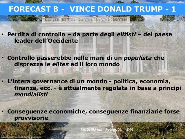 15Ing. D. Righetto – Padova, 03.11.2016 ● Perdita di controllo – da parte degli elitisti – del paese leader dell'Occidente...