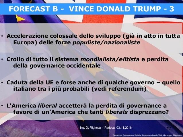 17Ing. D. Righetto – Padova, 03.11.2016 FORECAST B - VINCE DONALD TRUMP - 3 ● Accelerazione colossale dello sviluppo (già ...