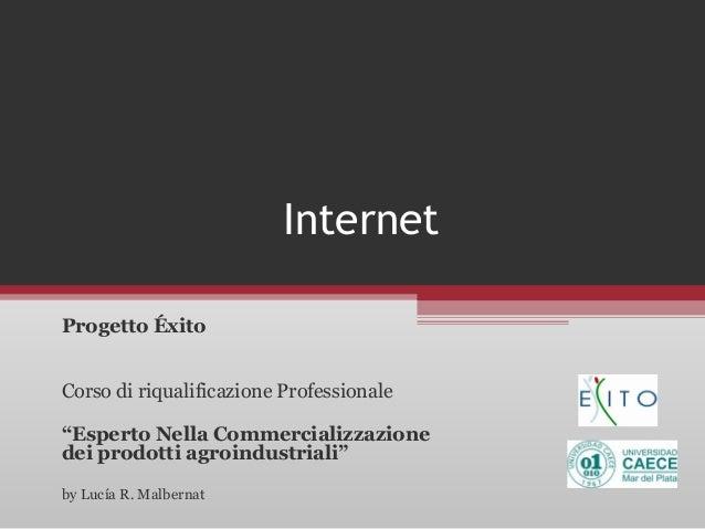 """Internet Progetto Éxito Corso di riqualificazione Professionale """"Esperto Nella Commercializzazione dei prodotti agroindust..."""
