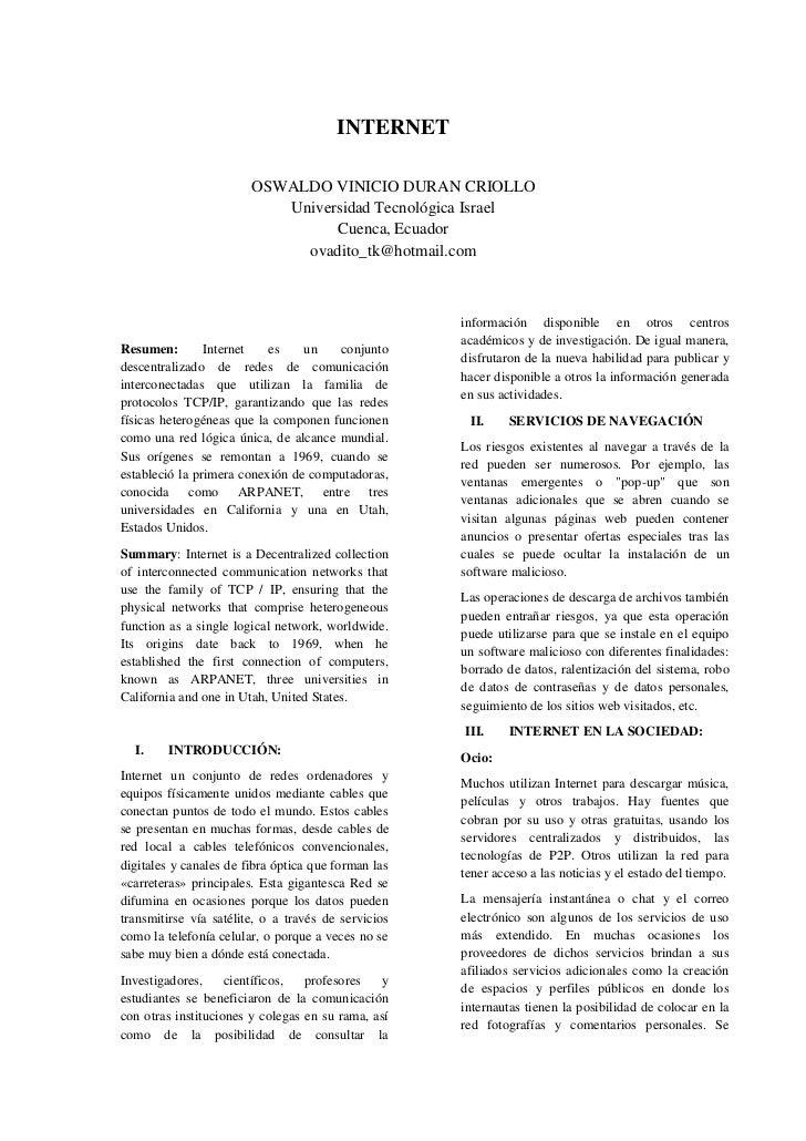 INTERNET                        OSWALDO VINICIO DURAN CRIOLLO                           Universidad Tecnológica Israel    ...