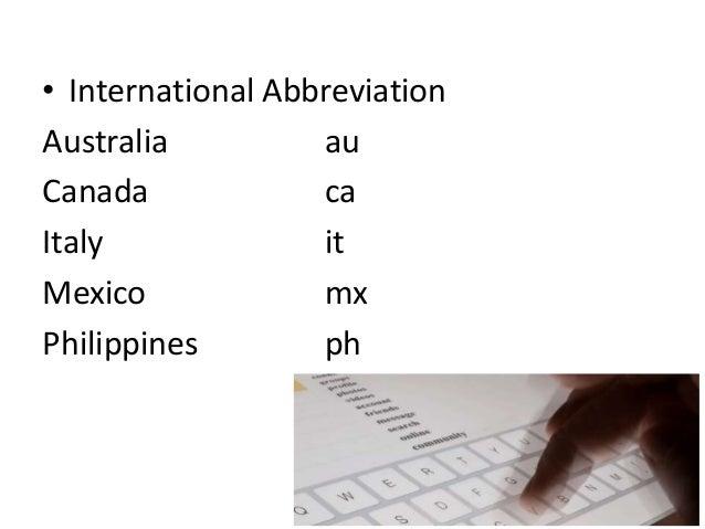 Ac Government Gov Military Mil Service Network Net 16 O International Abbreviation Australia Au Canada Ca Italy