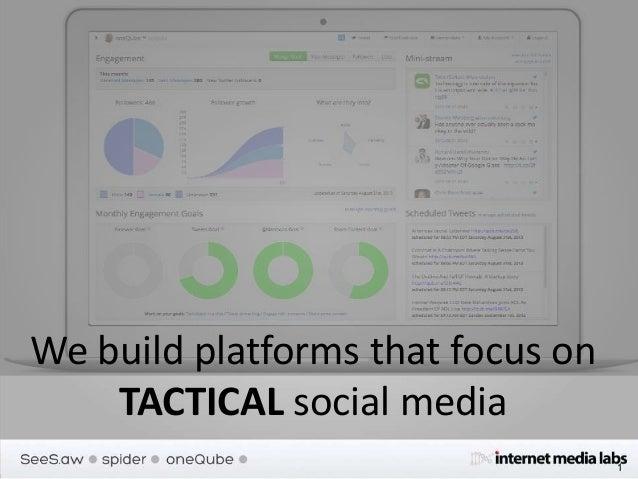 We build platforms that focus on TACTICAL social media 1
