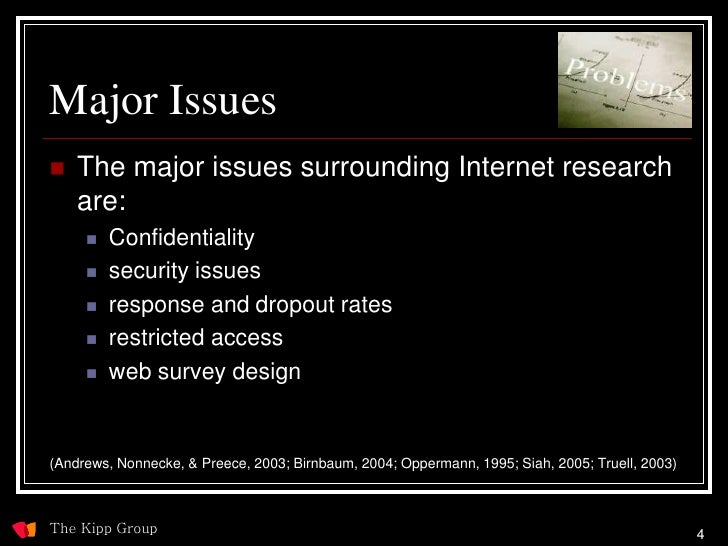 Major Issues    The major issues surrounding Internet research     are:         Confidentiality         security issues...