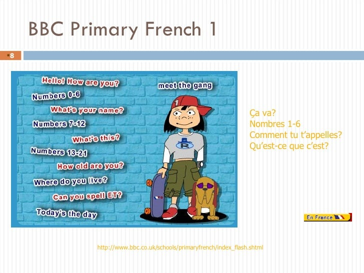 BBC Primary French 1 <ul><li></li></ul>http://www.bbc.co.uk/schools/primaryfrench/index_flash.shtml Ça va? Nombres 1-6 Com...
